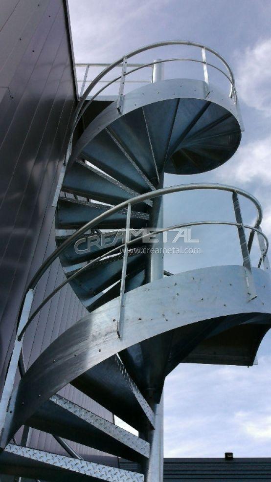 escalier ext rieur h licoidal en acier galvanis civrieux creametal. Black Bedroom Furniture Sets. Home Design Ideas
