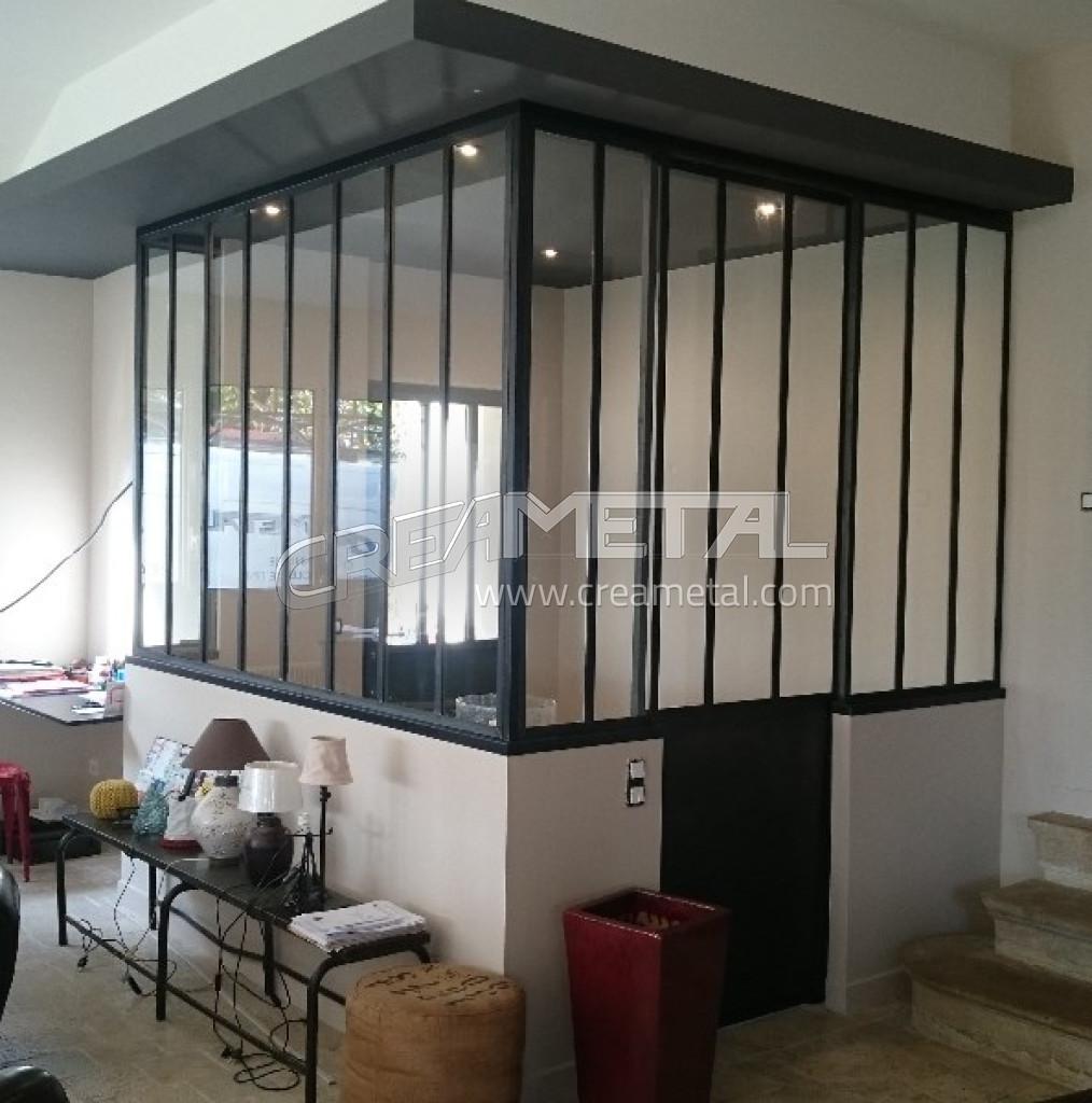 Etude et fabrication Verrière intérieur avec porte coulissante ...
