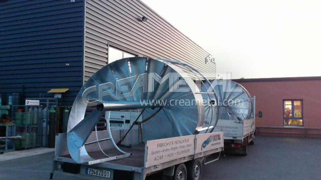 Escalier ext rieur h licoidal en acier galvanis civrieux for Prix escalier exterieur en acier galvanise