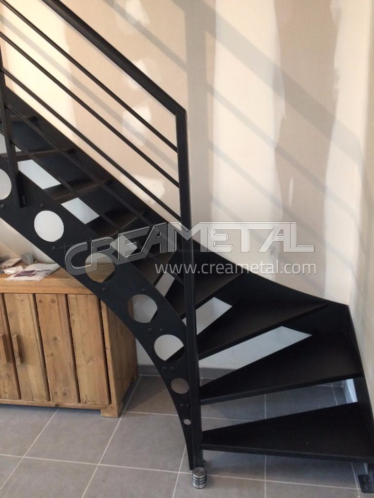 etude et fabrication escalier m tallique 1 4 tournant balanc jassans riottier 01 creametal. Black Bedroom Furniture Sets. Home Design Ideas