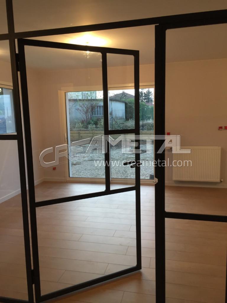Etude et fabrication verri re int rieure et porte vitr e contemporaine proche de lyon creametal - Porte verriere interieure ...
