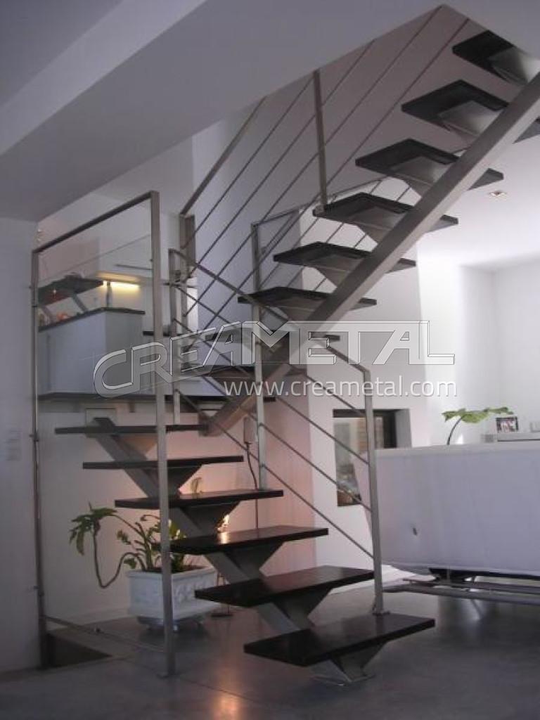 fabricant escalier deux quarts tournants limon central en inox bross avec garde corps et sous. Black Bedroom Furniture Sets. Home Design Ideas