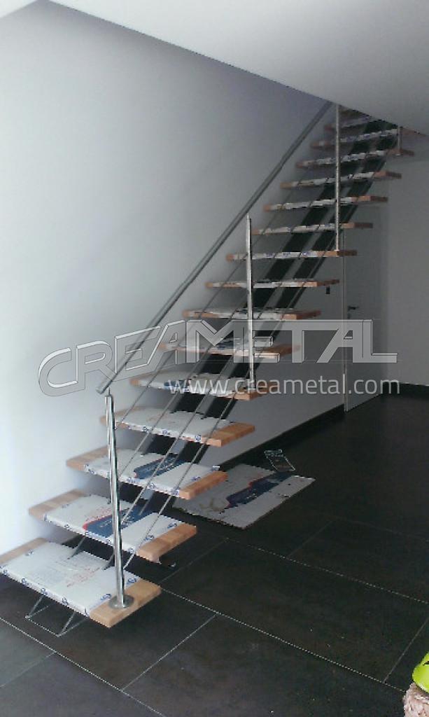 Etude et fabrication Escalier droit avec limon central et garde ...