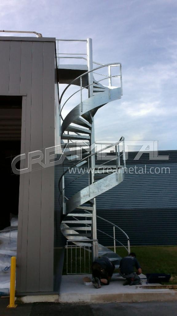 etude et fabrication escalier ext rieur en acier galvanis hauteur 7 m tres install dans l 39 ain. Black Bedroom Furniture Sets. Home Design Ideas