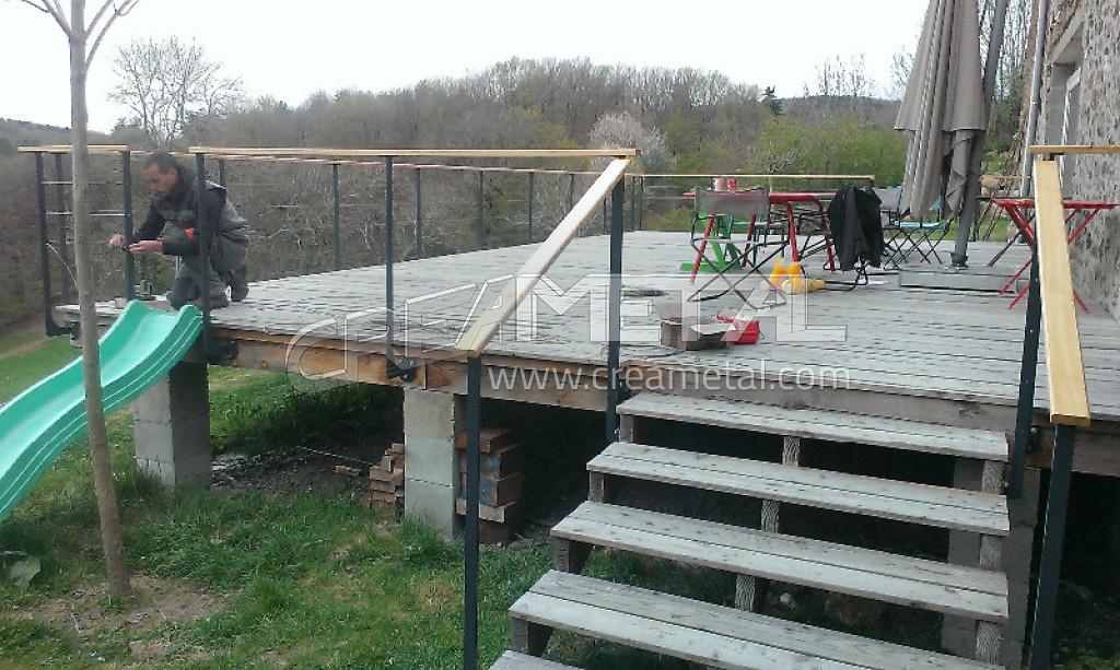 Etude et fabrication Garde corps de terrasse extérieur - CREAMETAL