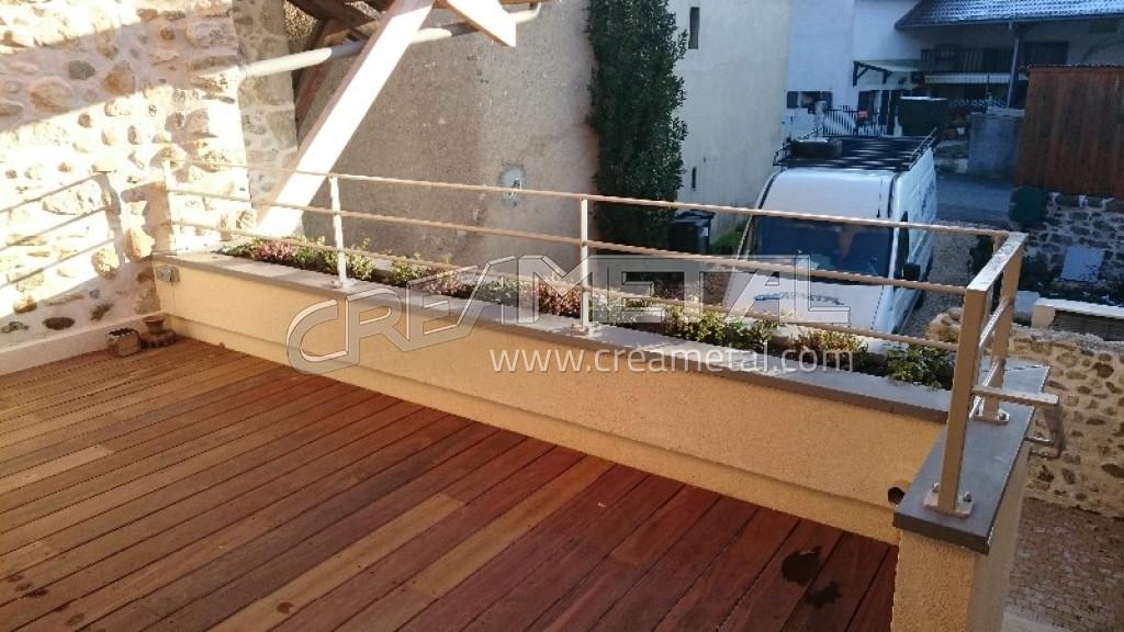 Fabricant garde corps de terrasse balcon r alis avec des sous lisses en ro - Garde corps de terrasse ...