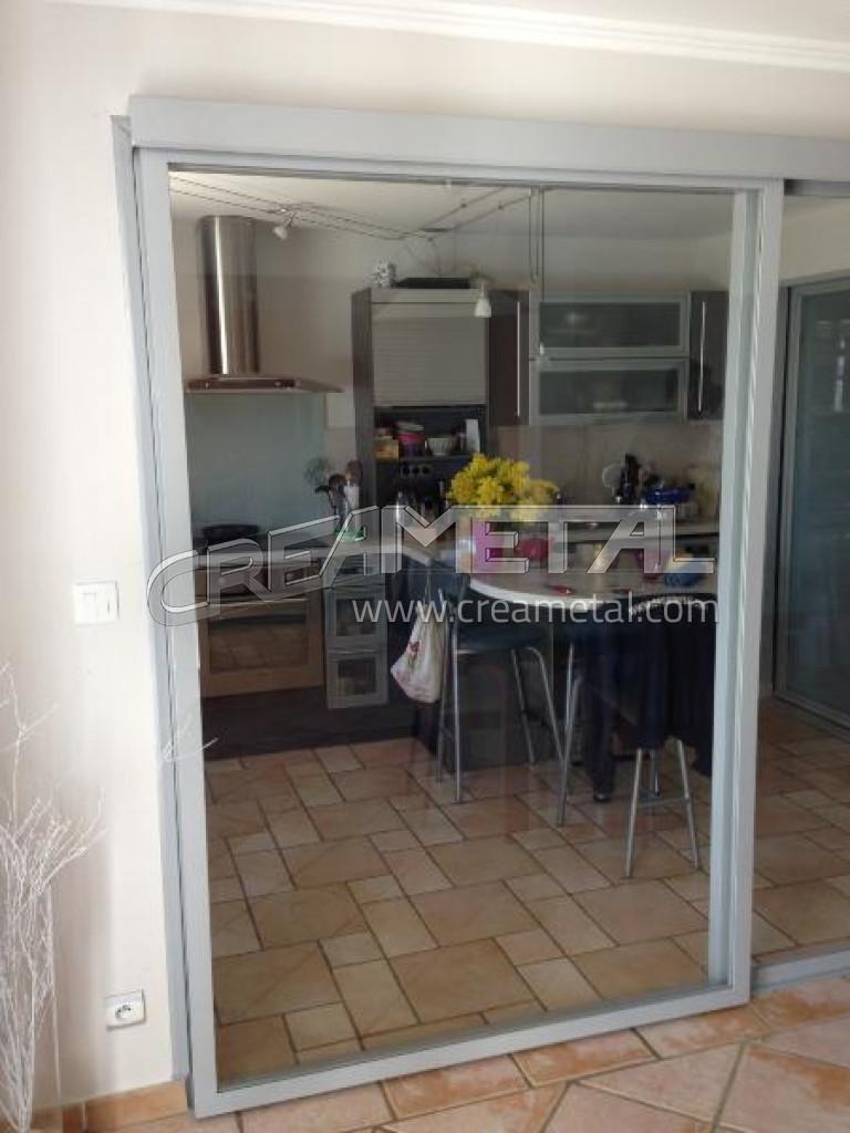 Etude et fabrication verri re cuisine coulissante proche de villefranche sur sa ne 69 creametal - Verriere cuisine coulissante ...