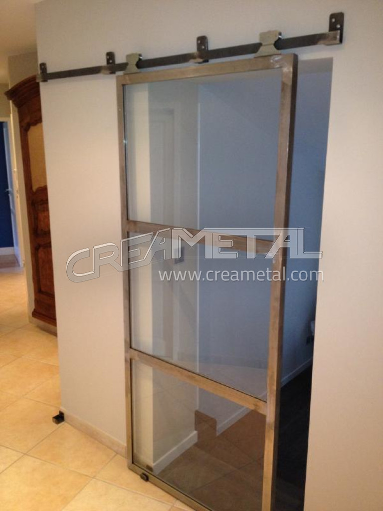 fabricant porte de bureau en acier brut coulissante et vitr toute hauteur lyon porte vitr e. Black Bedroom Furniture Sets. Home Design Ideas